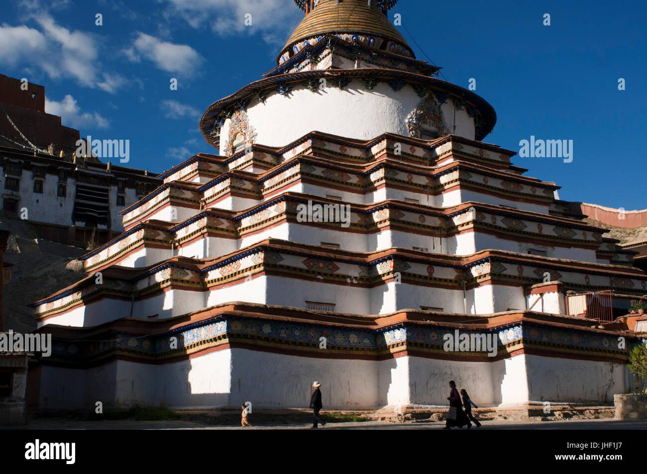 Kumbum stupa in the monastery Paelkhor, Pelkhor Chode, Gyangze, Tibet, China, Asia - Stock Image