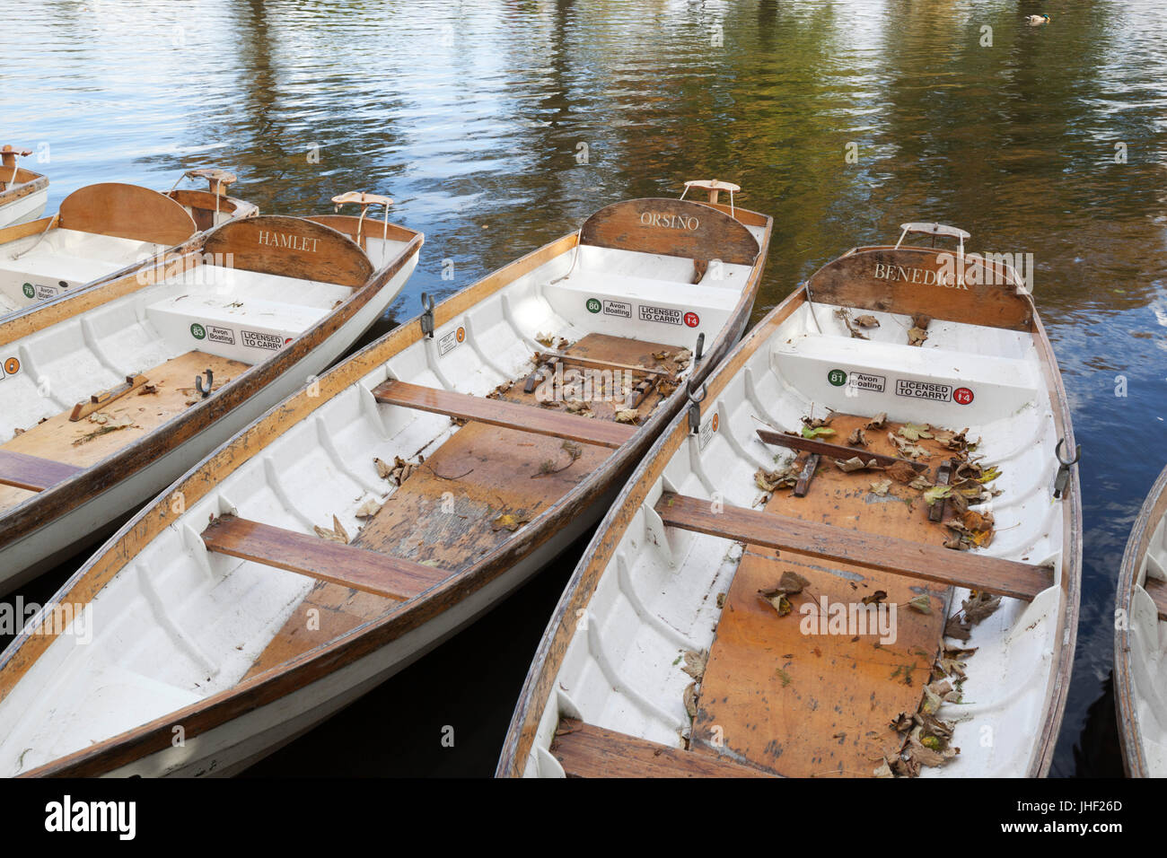 Rowing boats on River Avon with names from Shakespeare's characters, Stratford-upon-Avon, Warwickshire, England, - Stock Image