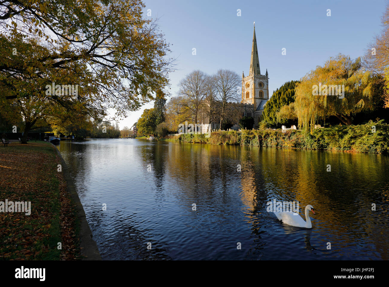 Holy Trinity Church where William Shakespeare is buried on the River Avon, Stratford-upon-Avon, Warwickshire, England, - Stock Image