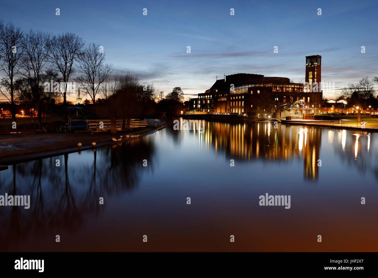 Royal Shakespeare Theatre on the River Avon at night, Stratford-upon-Avon, Warwickshire, England, United Kingdom, - Stock Image