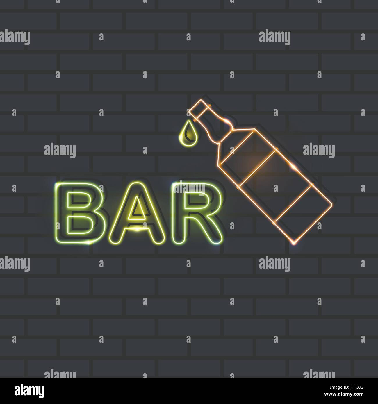 Neon icon for bar and night club Vector illustration Yellow-green neon inscription Bar and orange neon beer bottle - Stock Image