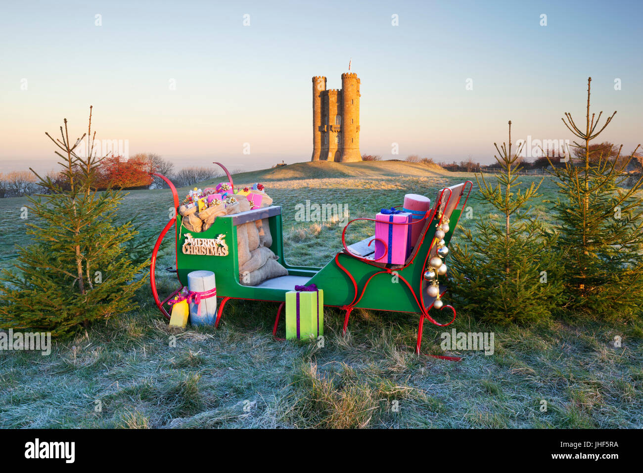 Broadway Tower with Christmas sleigh, Broadway, Cotswolds, Worcestershire, England, United Kingdom, Europe - Stock Image