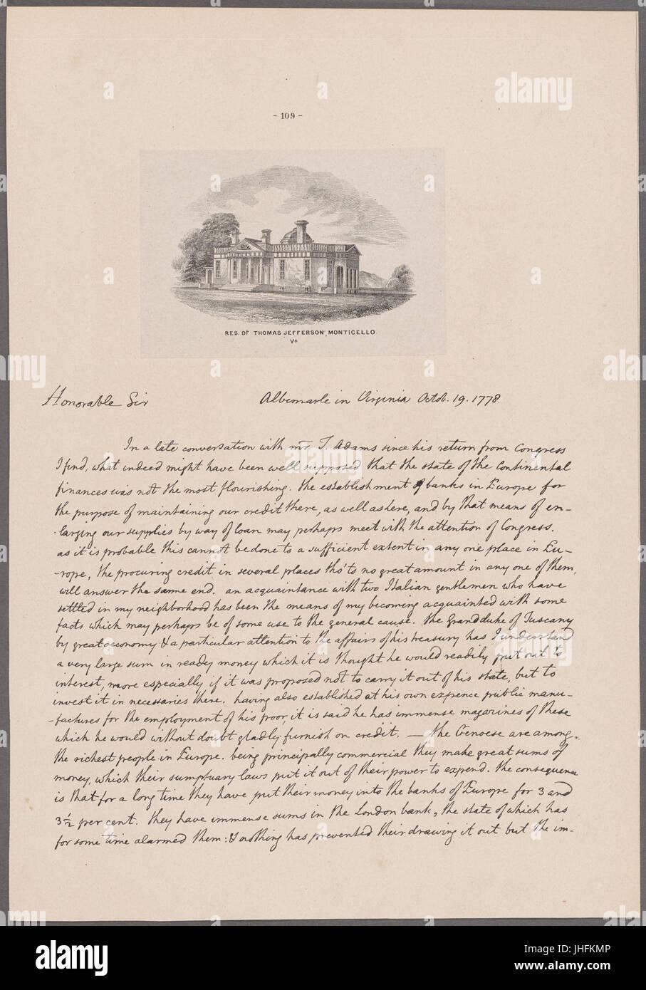 Jefferson, Thomas. Albermarle. To John Hancock (NYPL b11868620-5339238) - Stock Image
