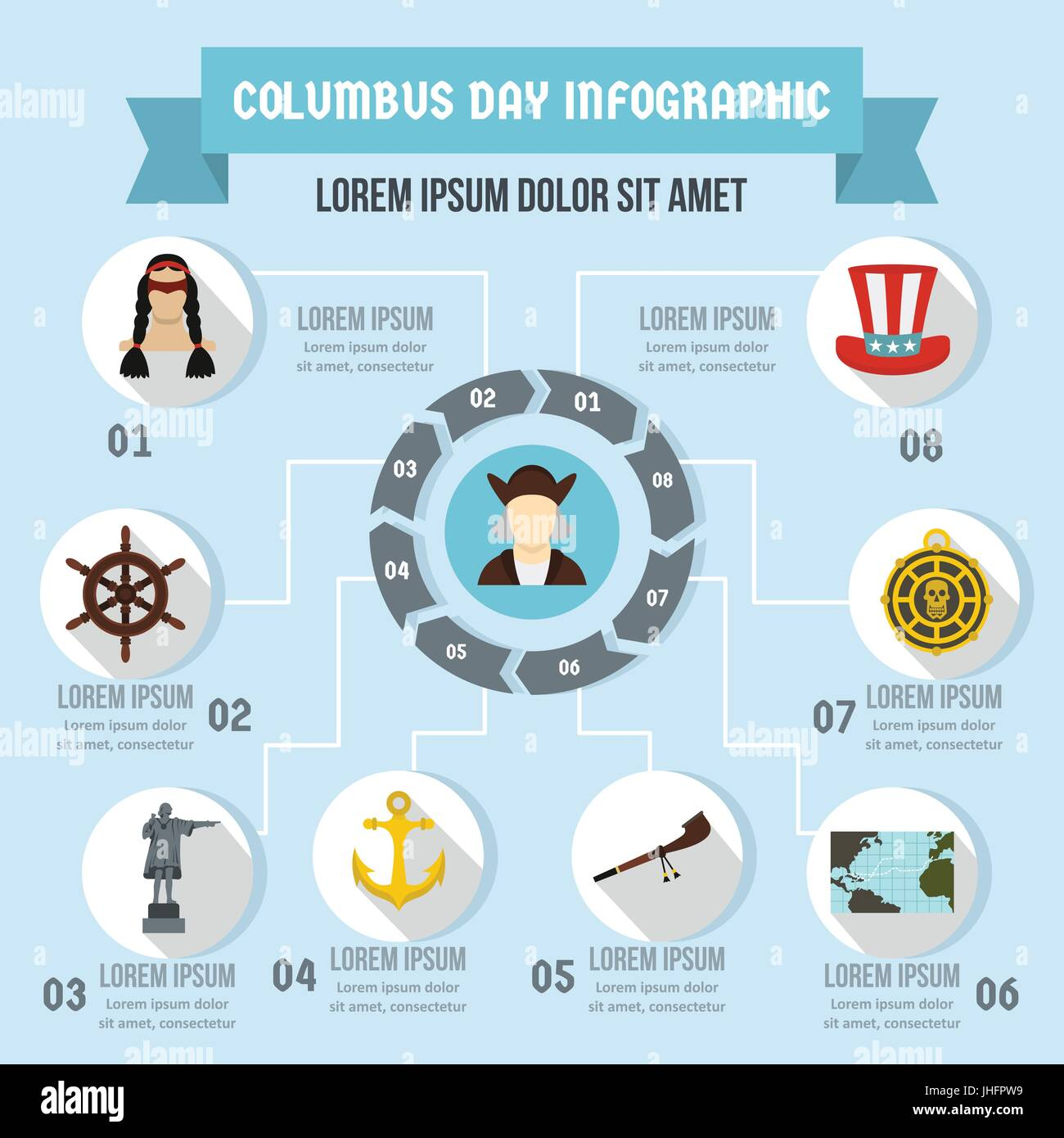 Columbus Day infographic concept, flat style - Stock Image