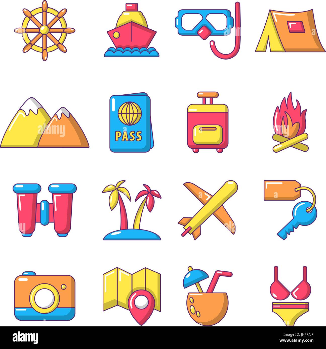 Travel summer icons set, cartoon style Stock Vector Art