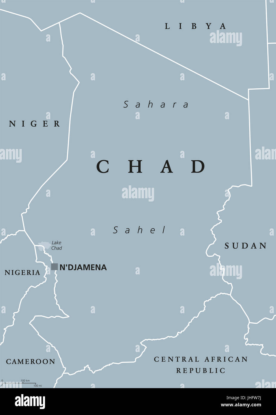 Chad political map with capital NDjamena, international borders and neighbors. Republic and landlocked country in - Stock Image