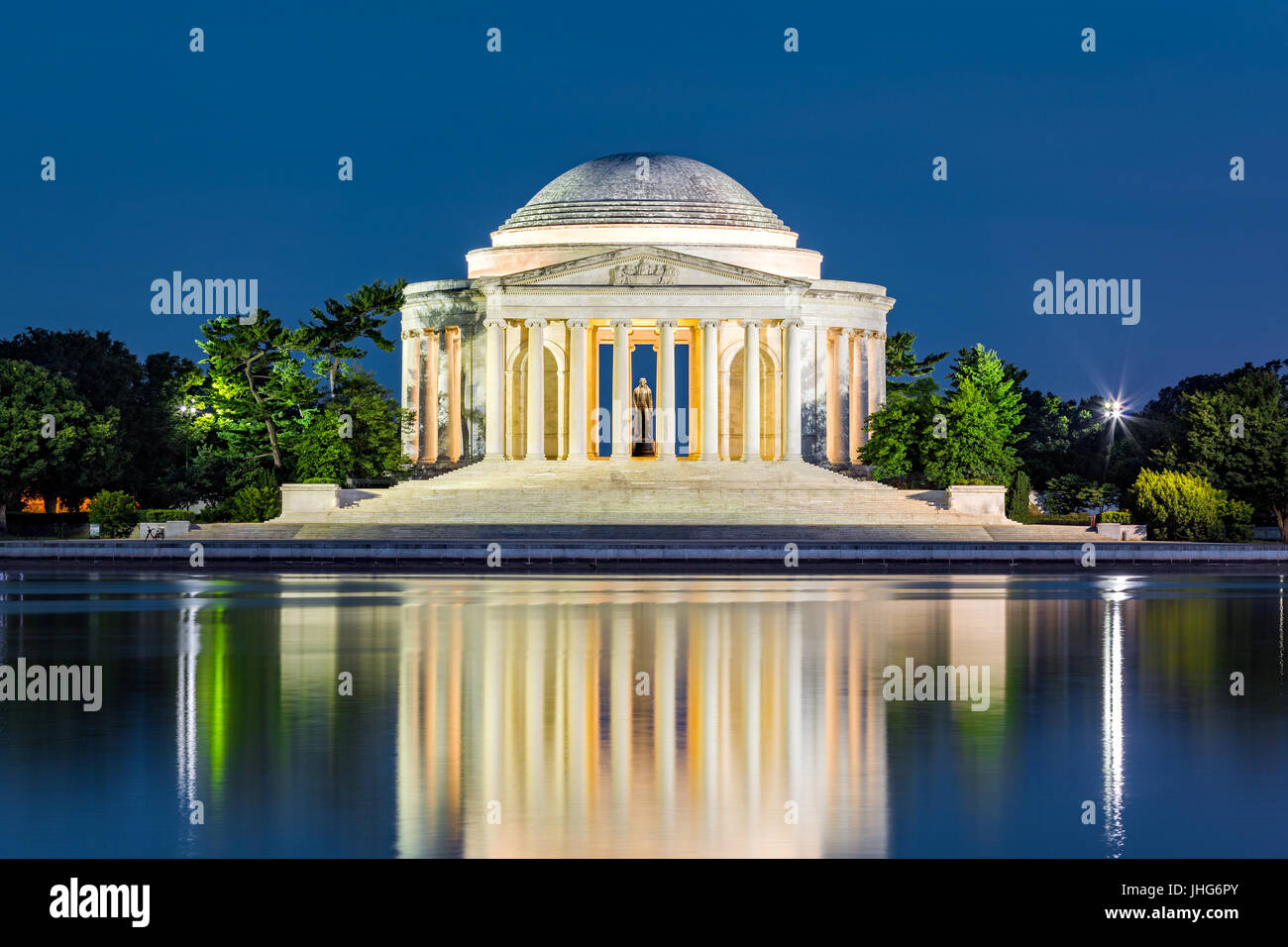 Jefferson Memorial in Washington DC. The Jefferson Memorial is a public building managed by the National Park Service - Stock Image