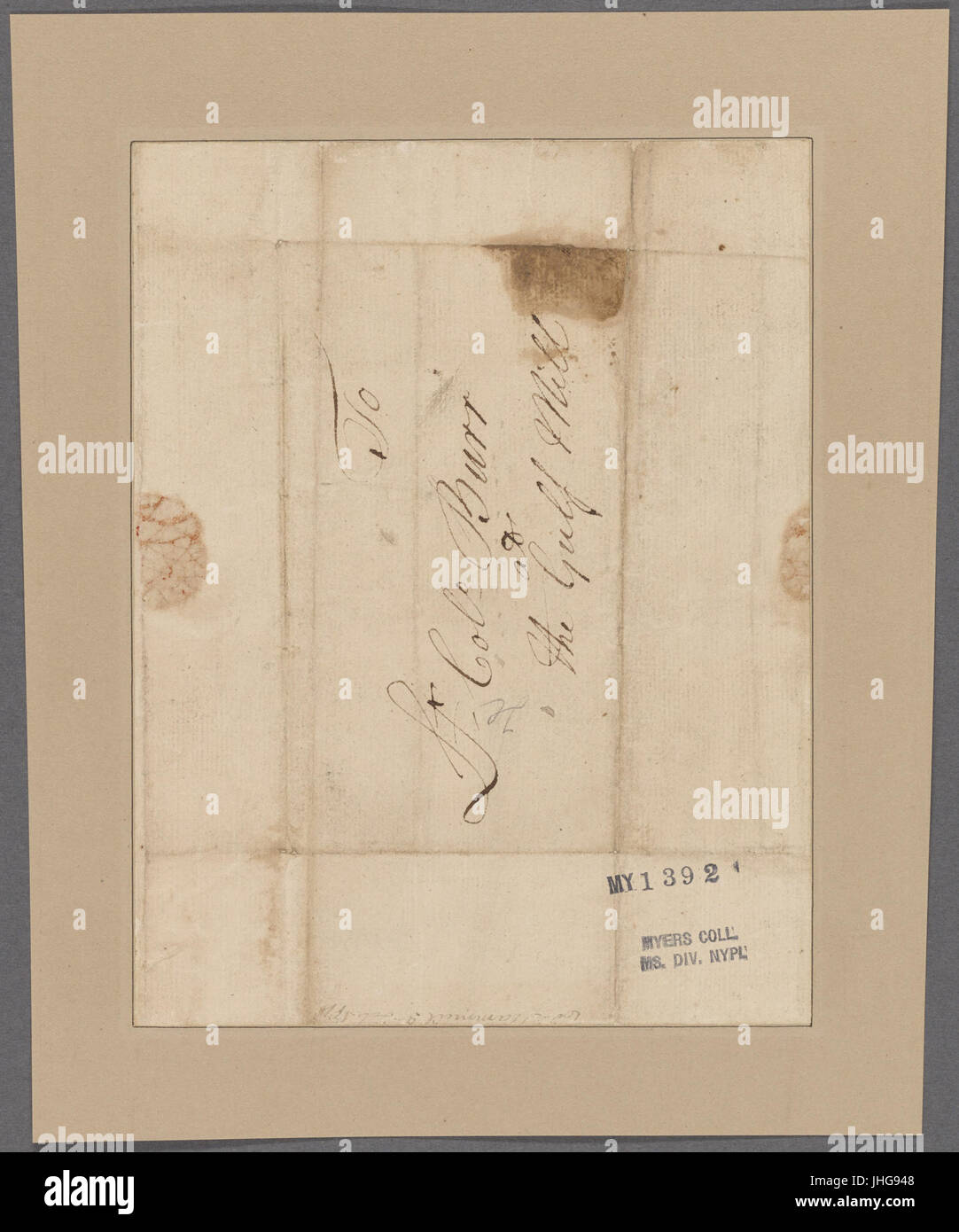 Scammell, Alexander. Headquarters. To Colonel Burr (NYPL b11868620-5378005) - Stock Image