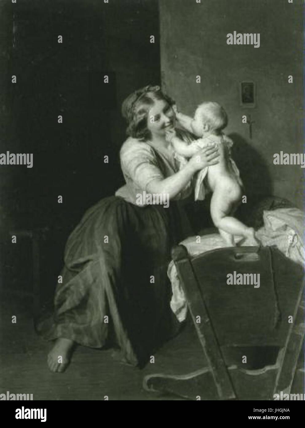 Ferdinand Georg Waldmuller 1793-1865 - Materske stesti Matka s ditetem u kolebky - Stock Image