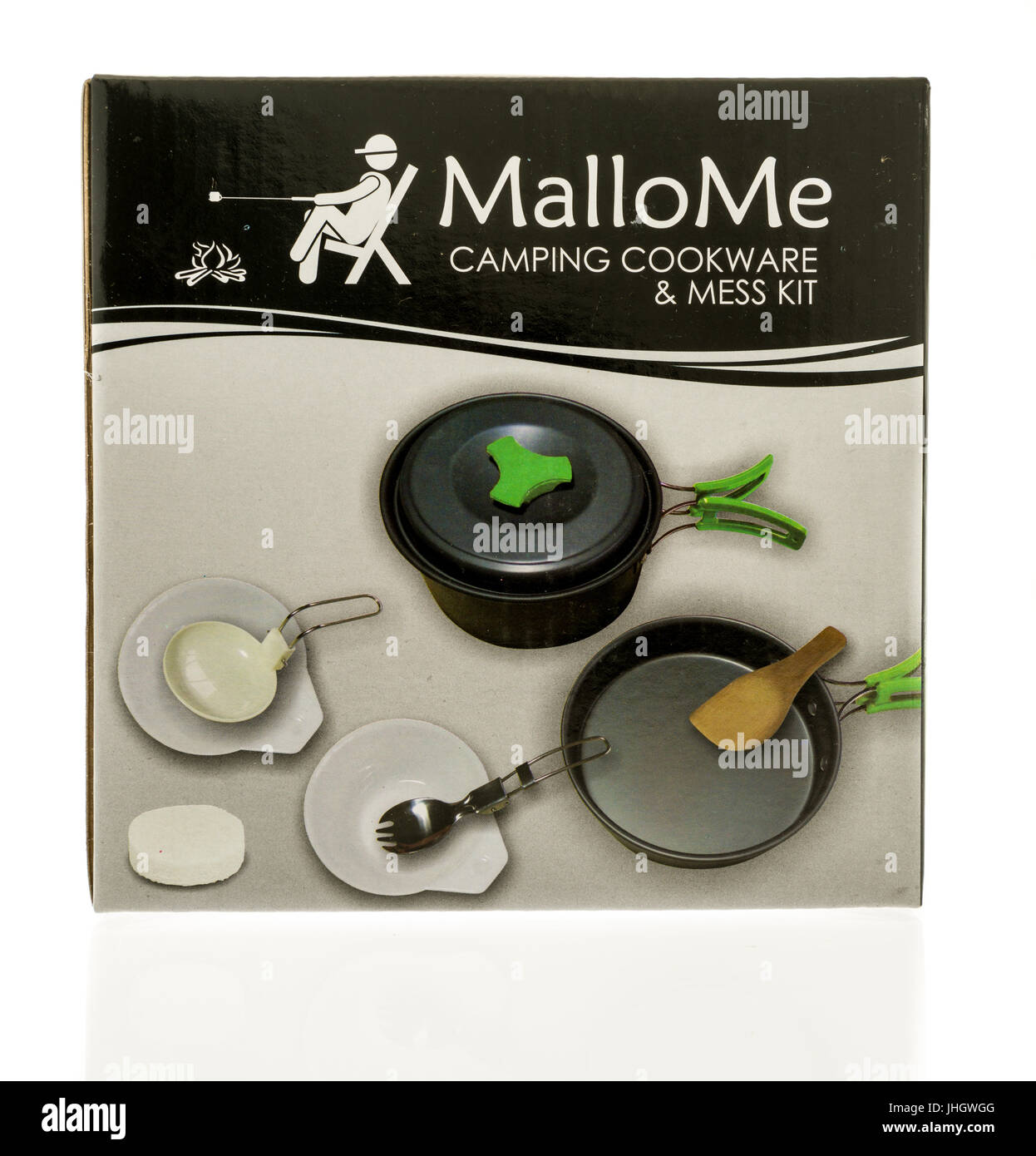 Winneconne, WI - 10 July 2017: A box of Mallome camping cookware ane mess kit on an isolated background. - Stock Image