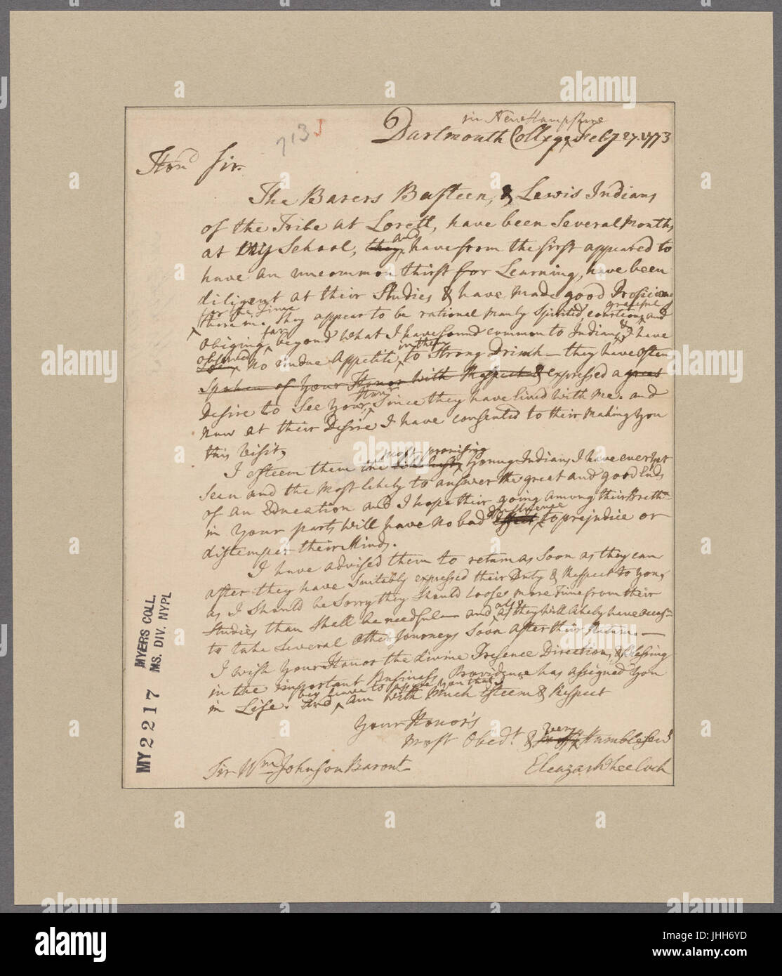 Wheelock, Eleazar. Dartmouth College, New Hampshire. To William Johnson (NYPL b11868620-5392632) Stock Photo