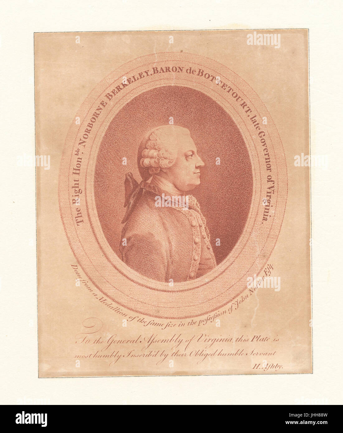 The Right Honble. Norborne Berkeley, Baron De Bottetourt, late Governor of Virginia (NYPL Hades-286800-EM3818) Stock Photo