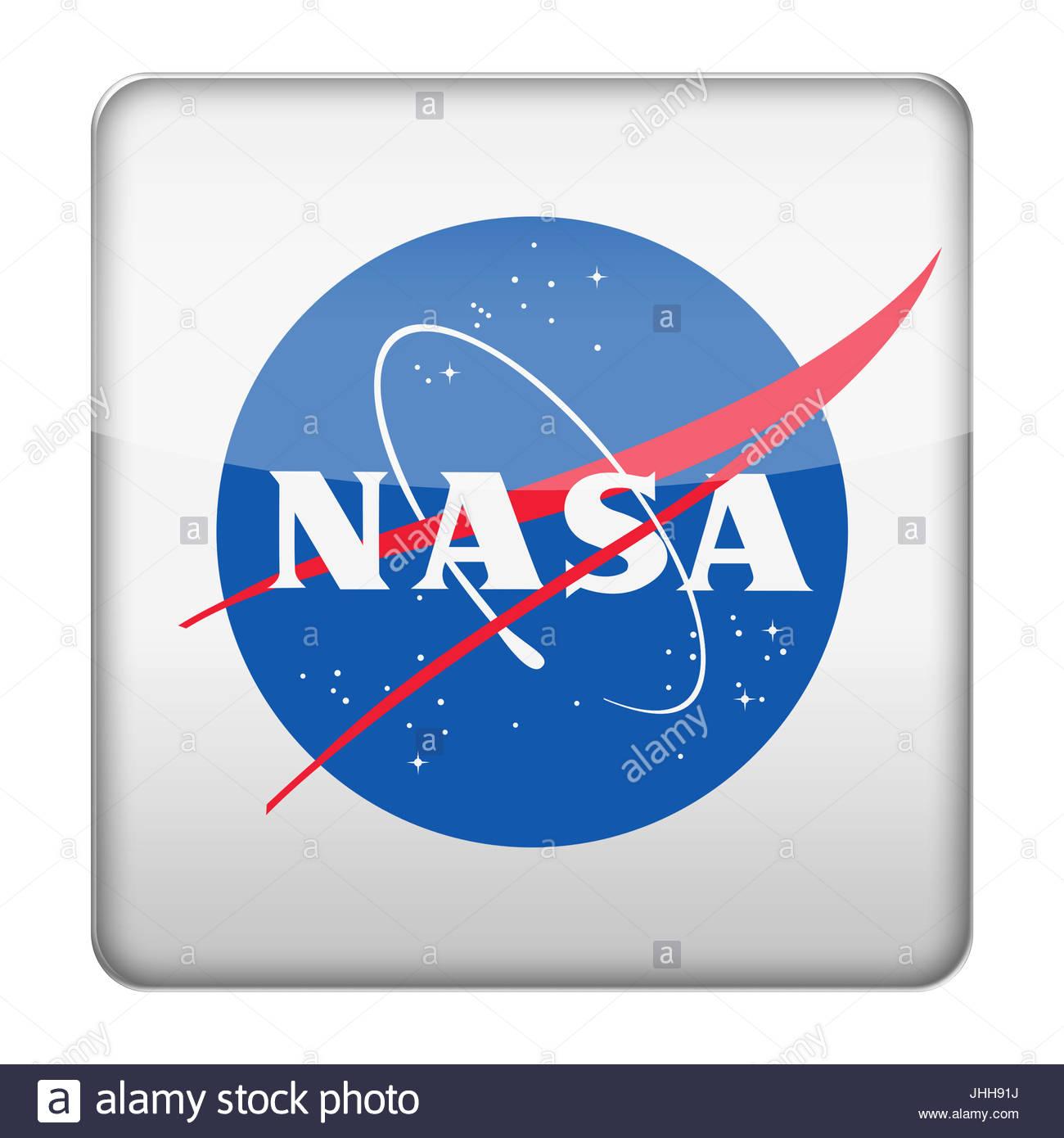 NASA logo icon button - Stock Image