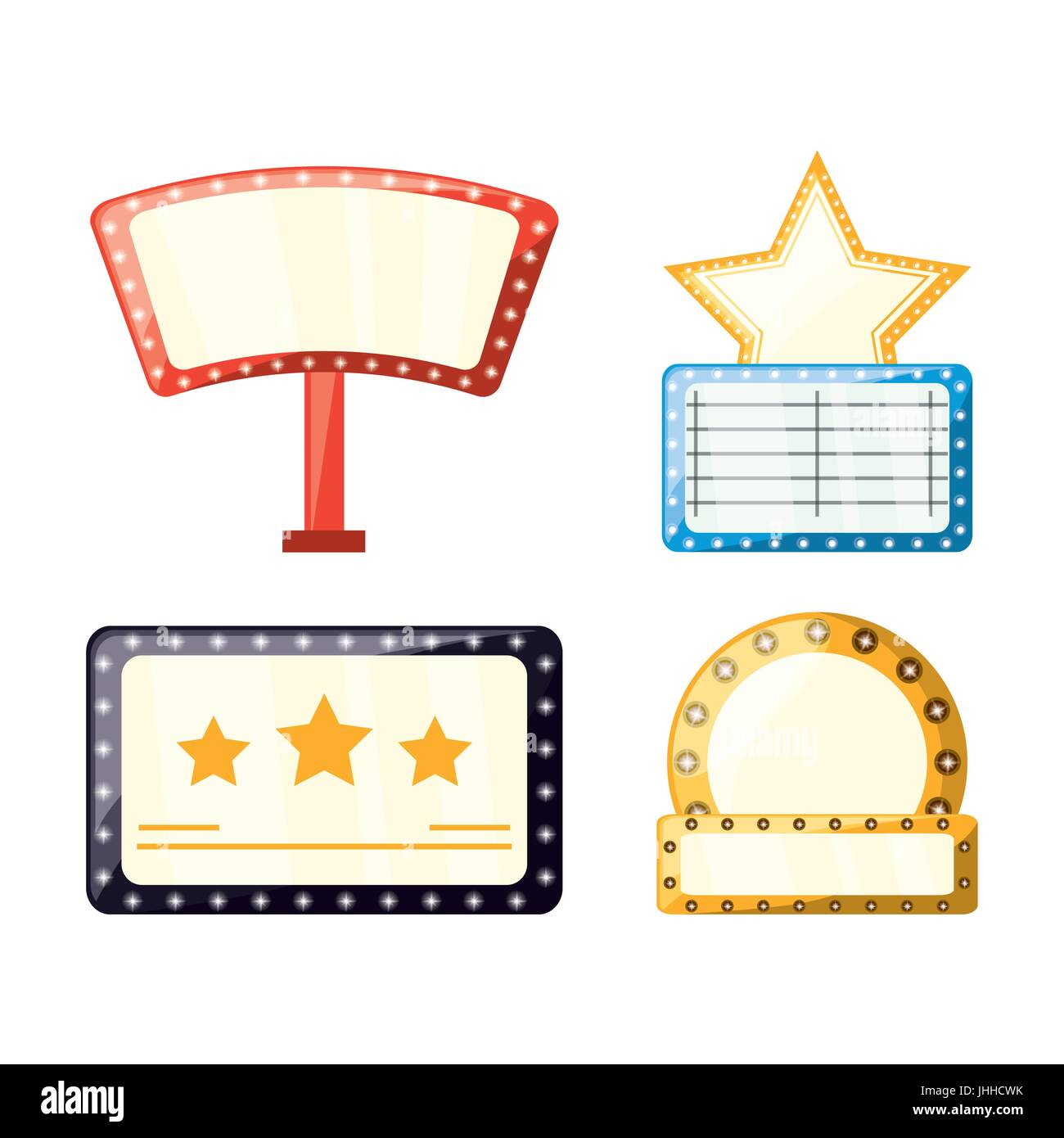 set retro cinema production emblems - Stock Image
