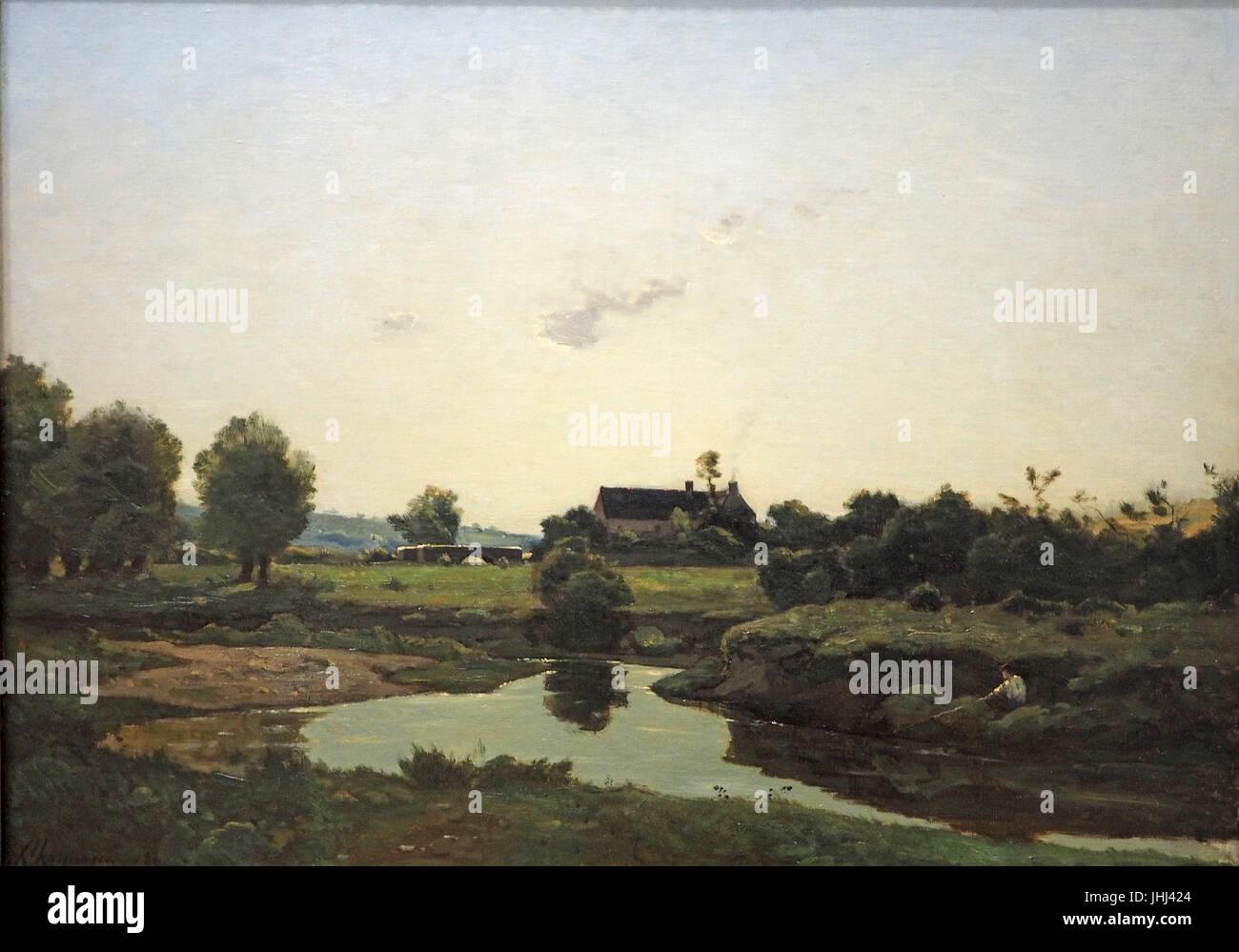 Harpignies Angler@Nieders. Landesmuseum20160811 - Stock Image