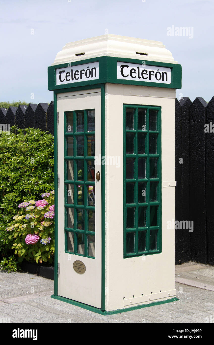 Old Irish Phone Box at Clonakilty Model Village in West Cork - Stock Image