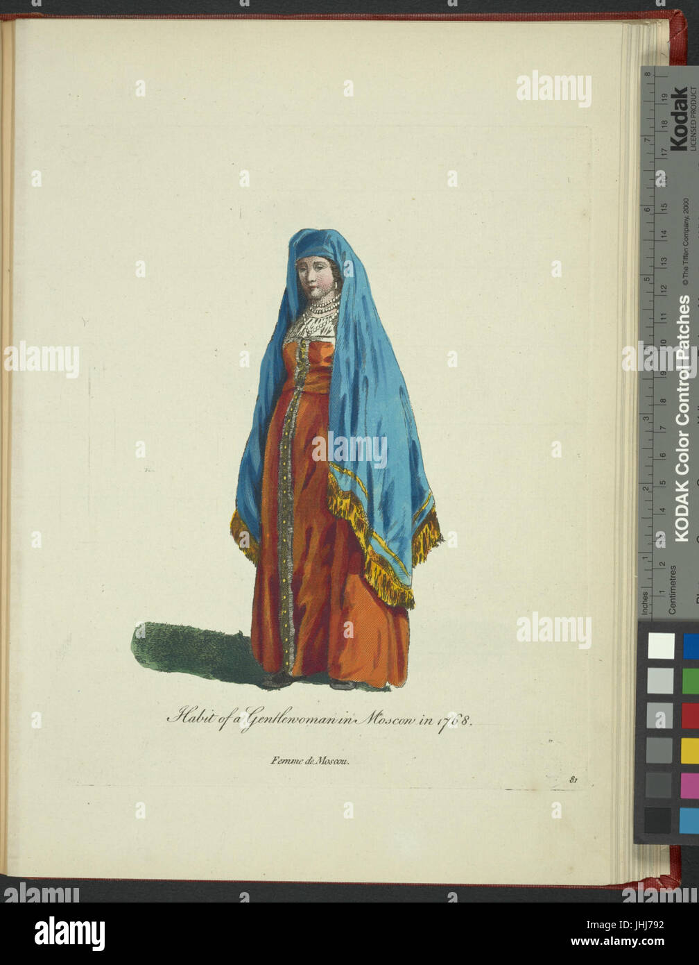 Habit of a gentlewoman in Moscow in 1768. Femme de Moscou (NYPL b14140320-