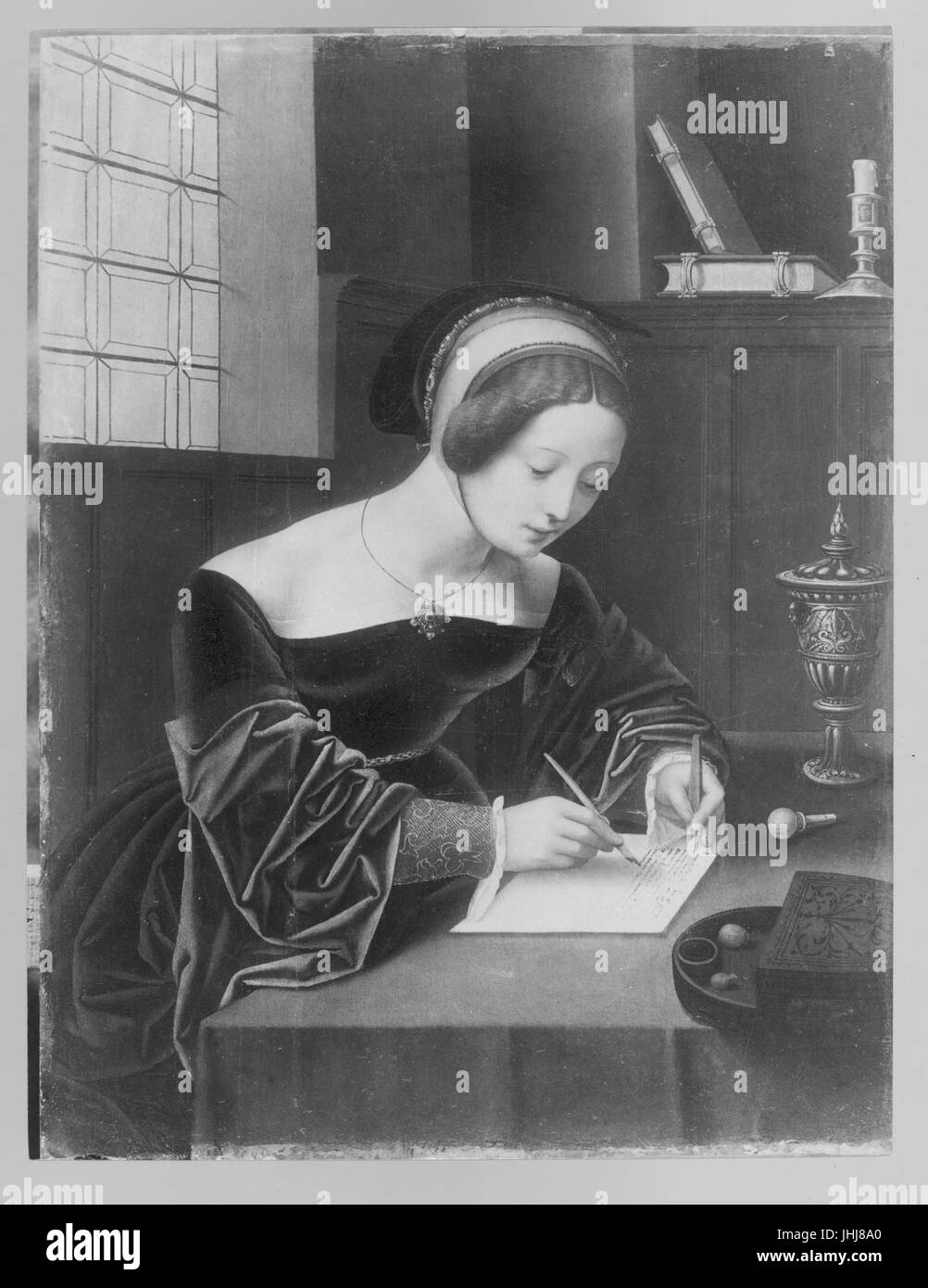 Master of the Female Half-Lengths - Mary Magdalene writing at her desk - Stock Image