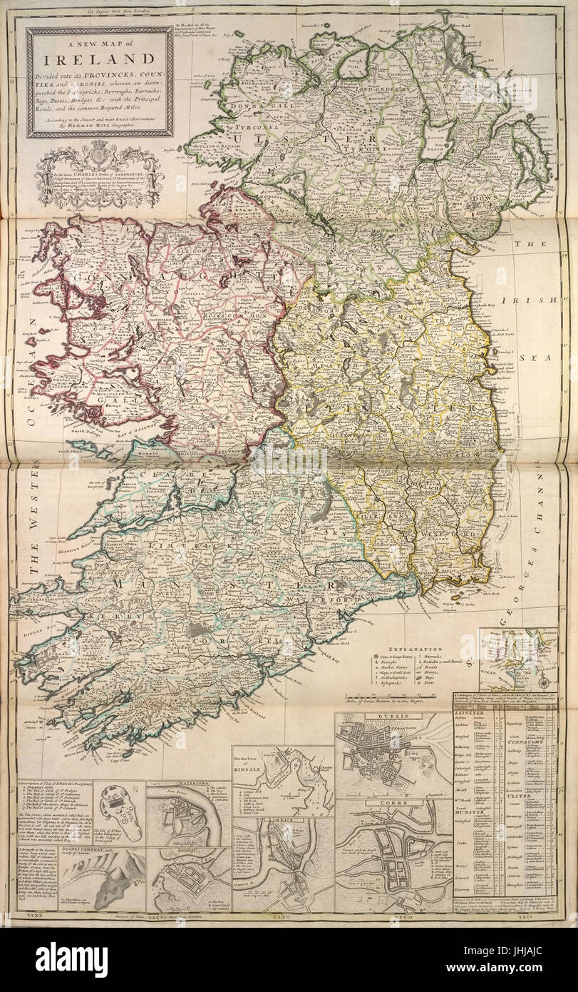 Map Of Ireland With Counties And Provinces.A New Map Of Ireland Divided Into Its Provinces Counties And Stock