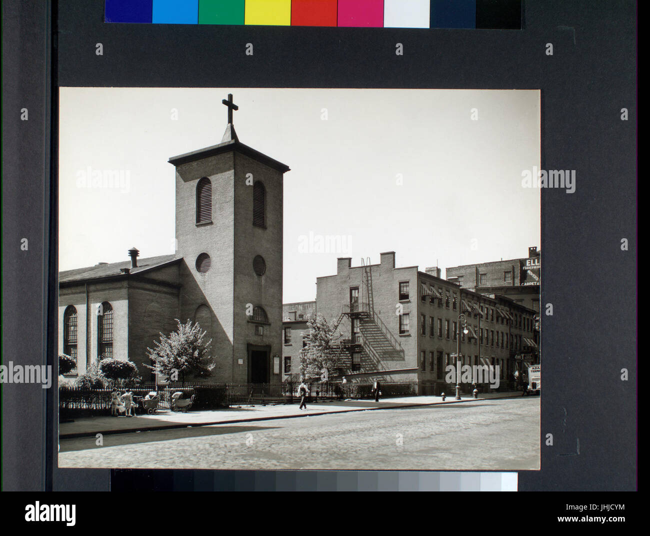 St. Luke's Chapel and Old Houses, Hudson, corner of Grove, Manhattan (NYPL b13668355-482648) Stock Photo