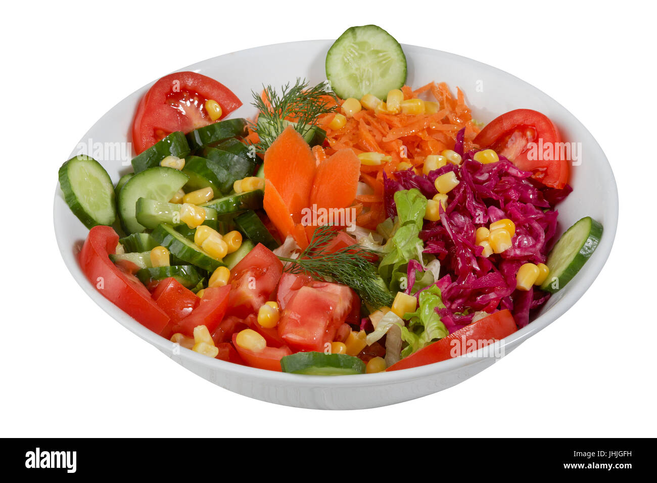 Fresh Vegetable Salad Isolated On A White Background Stock