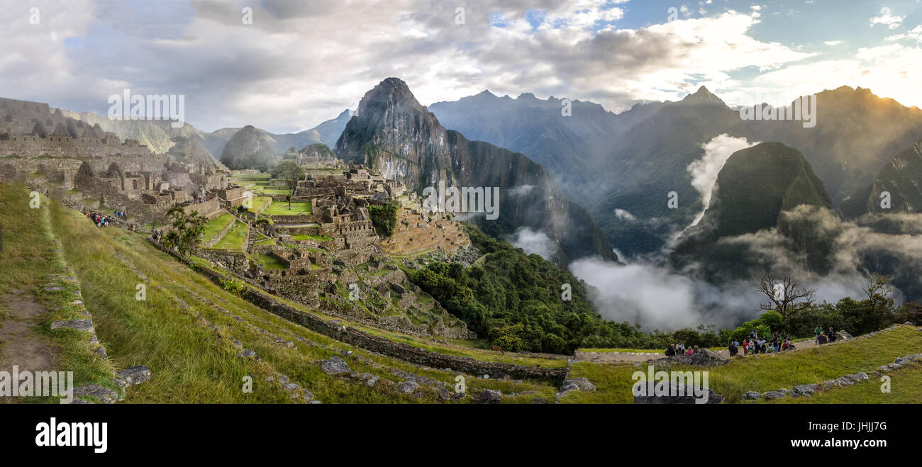 Panoramic View of Machu Picchu Inca Ruins - Sacred Valley, Peru - Stock Image