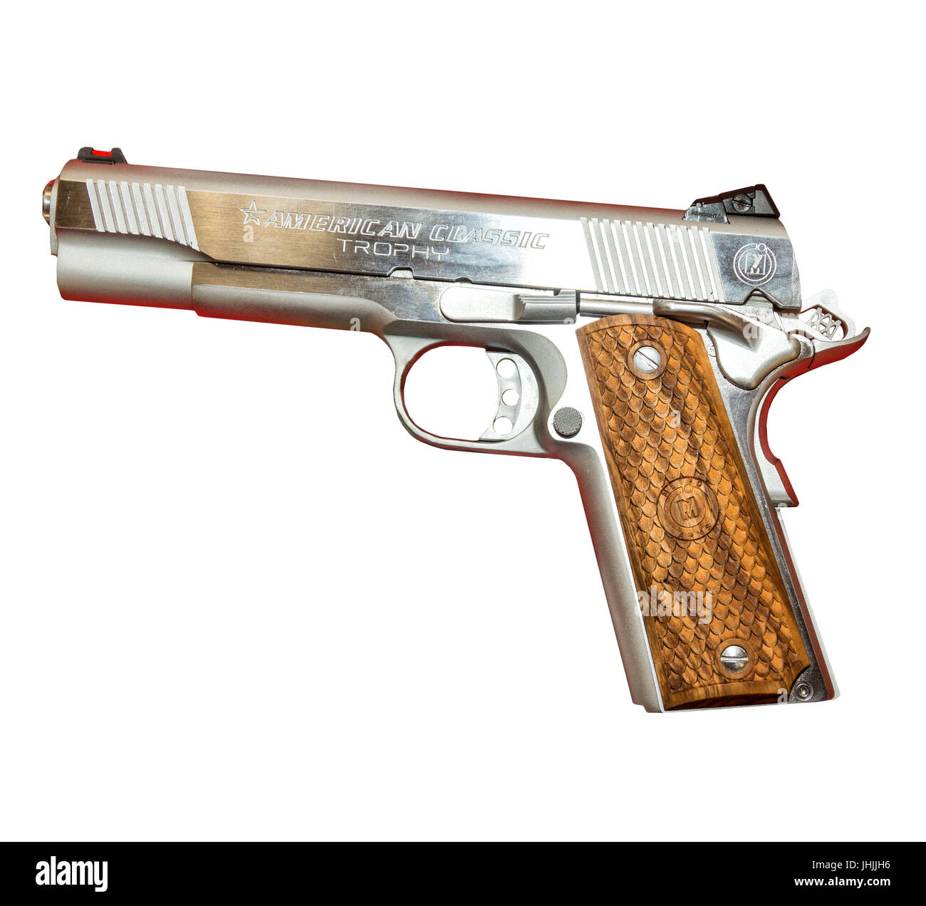 1911 American Classic Pistol on a white background. - Stock Image