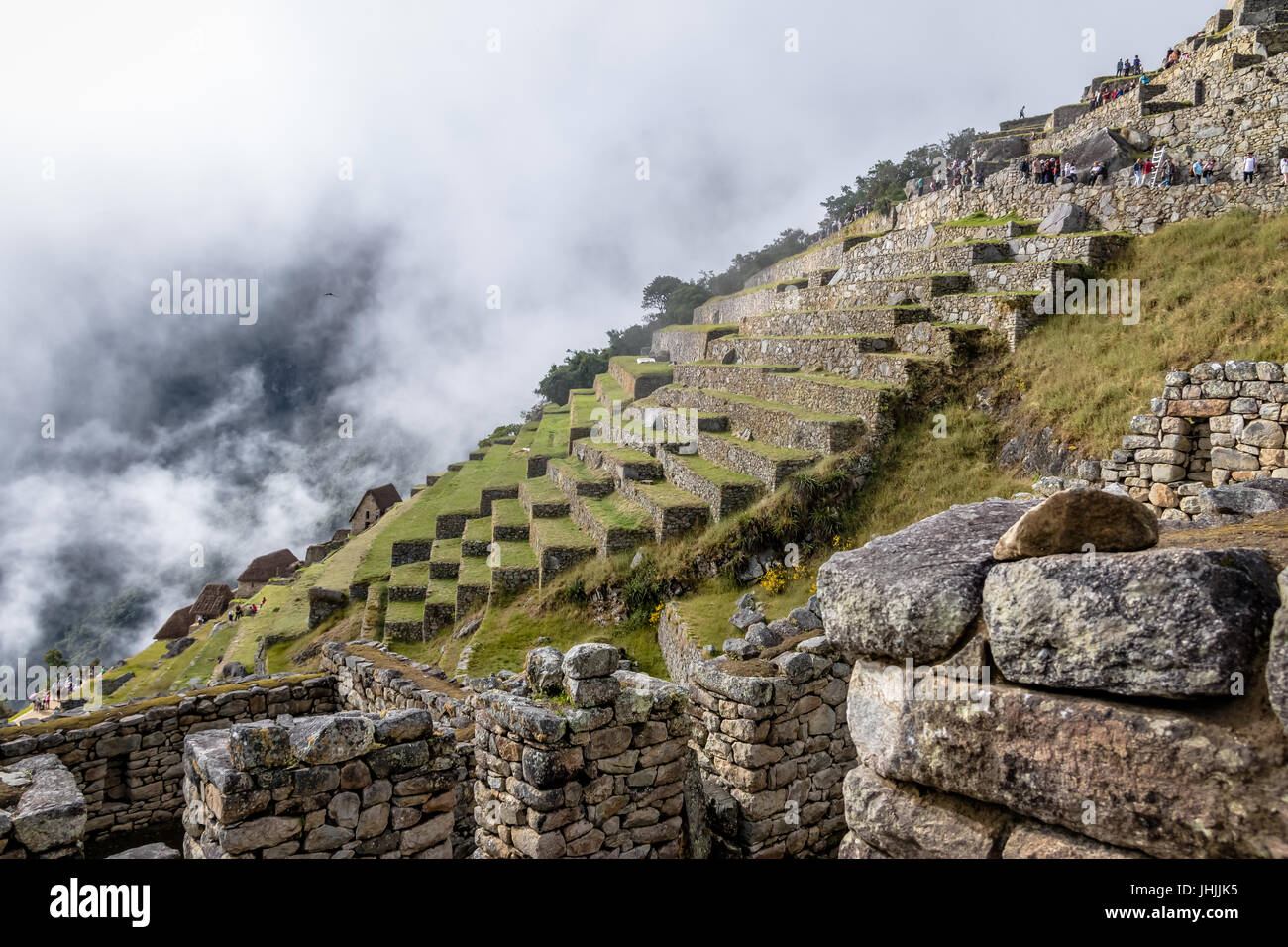 Terraces at Machu Picchu Inca Ruins - Sacred Valley, Peru - Stock Image