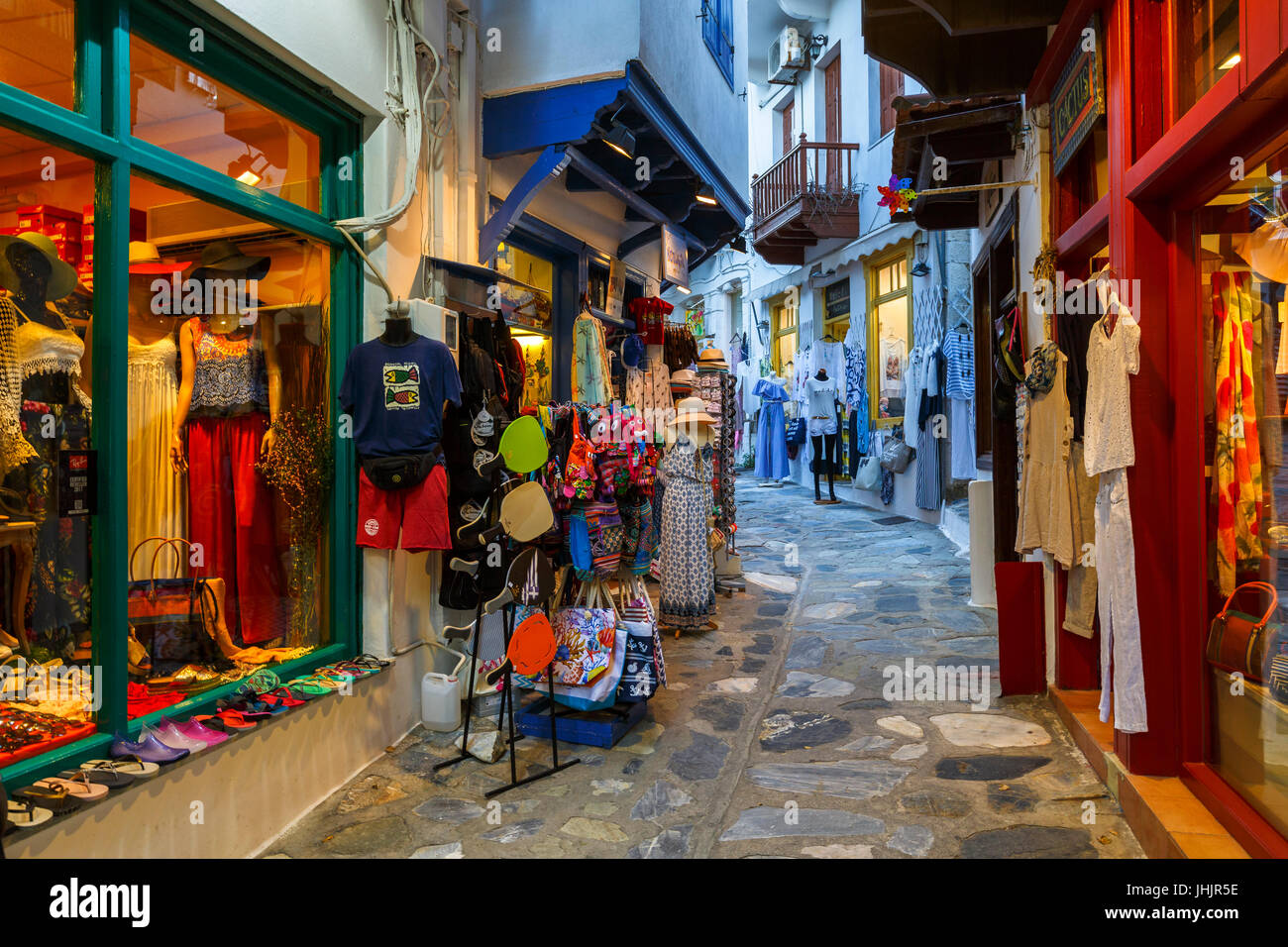 Street with a shops in Skopelos town, Greece. - Stock Image