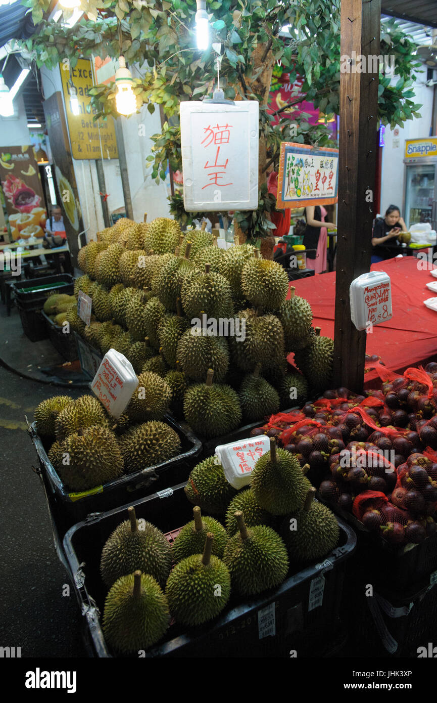 Fresh Durian for sale in Chinatown, Singapore Stock Photo