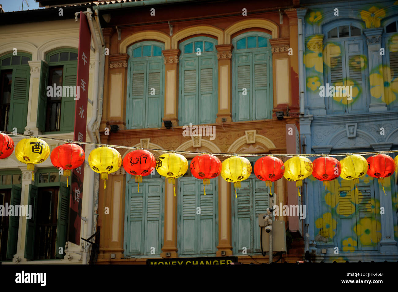 Chinese lanterns in Pagoda Street, with traditional shophouse upper storey frontages in background. Chinatown, Singapore Stock Photo