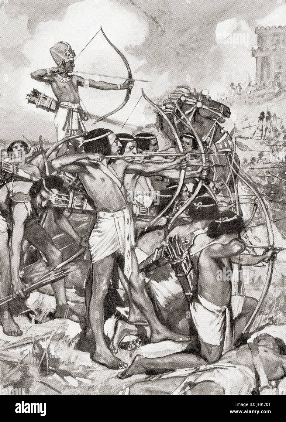 Thothmes III attacking the Syrians.  Thutmose III aka Thutmosis or Tuthmosis III.  Sixth Pharaoh of the Eighteenth - Stock Image