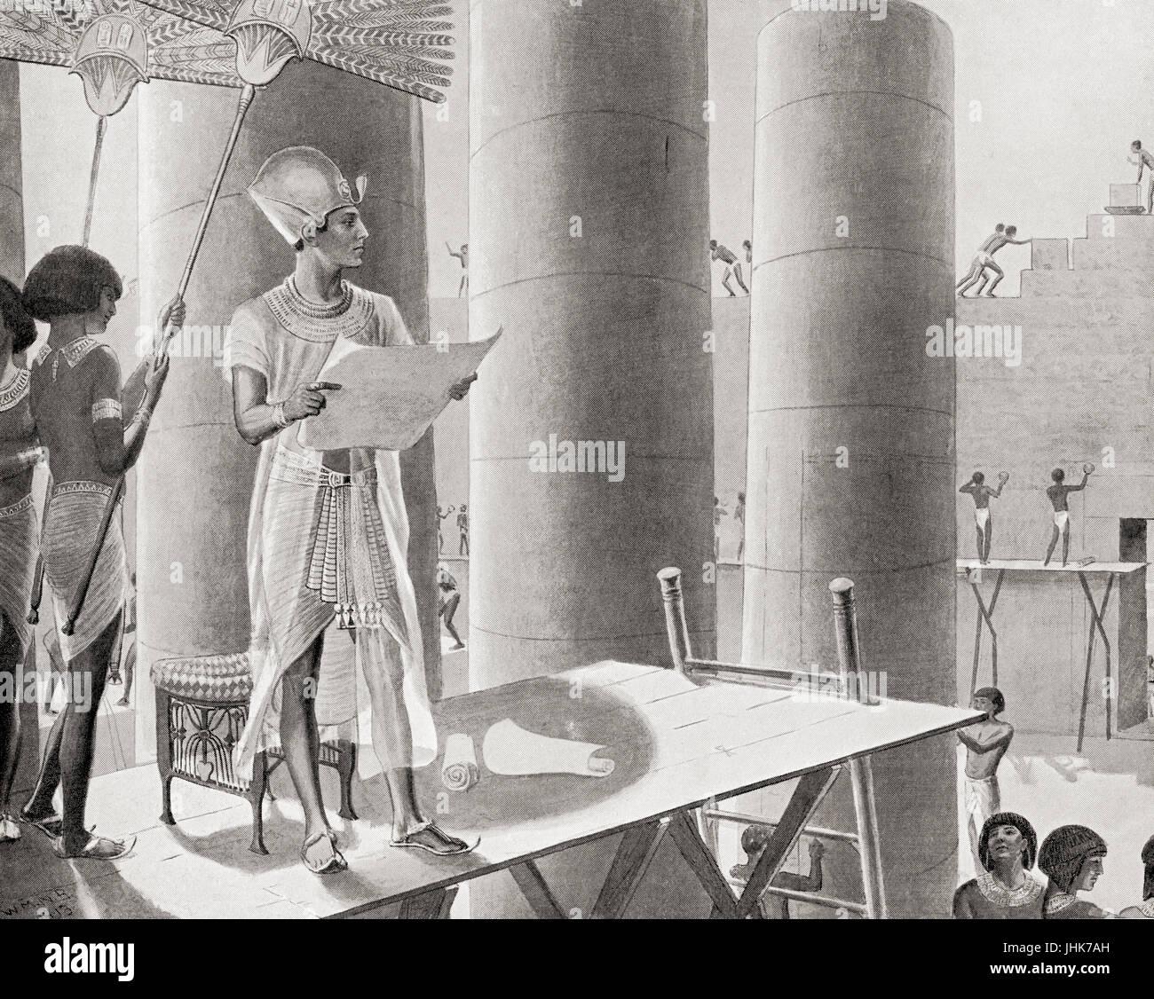 Seti I building the Temple of Abydos, Egypt.  Menmaatre Seti I or Sethos I.  Pharaoh of the New Kingdom Nineteenth - Stock Image