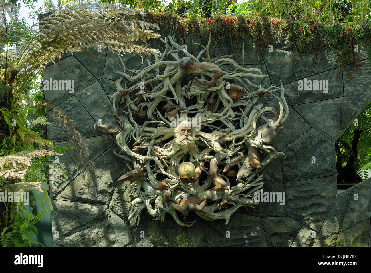 Wooden sculpture/carving in Gardens by the Bay, Singapore Stock Photo