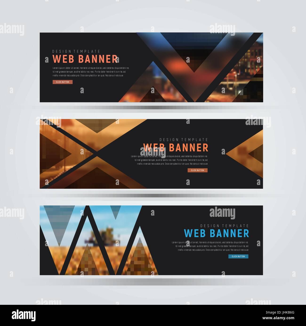 Design of black horizontal web banners templates of standard size design of black horizontal web banners templates of standard size with triangles for a photo vector illustration set maxwellsz