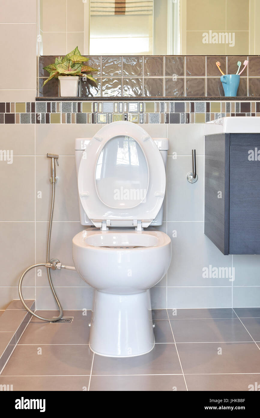 Water closet with hygienic hand spray in modern style toilet Stock ...