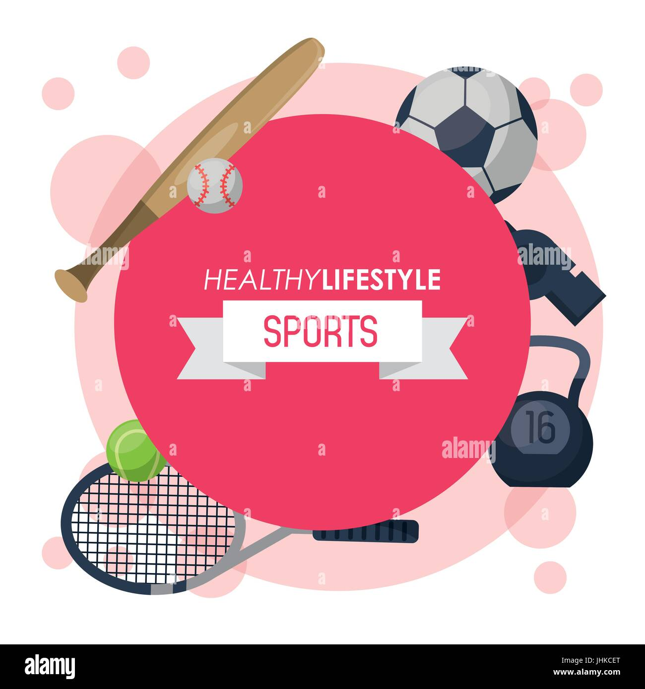 colorful poster of healthy lifestyle sports with round emblem magenta - Stock Image