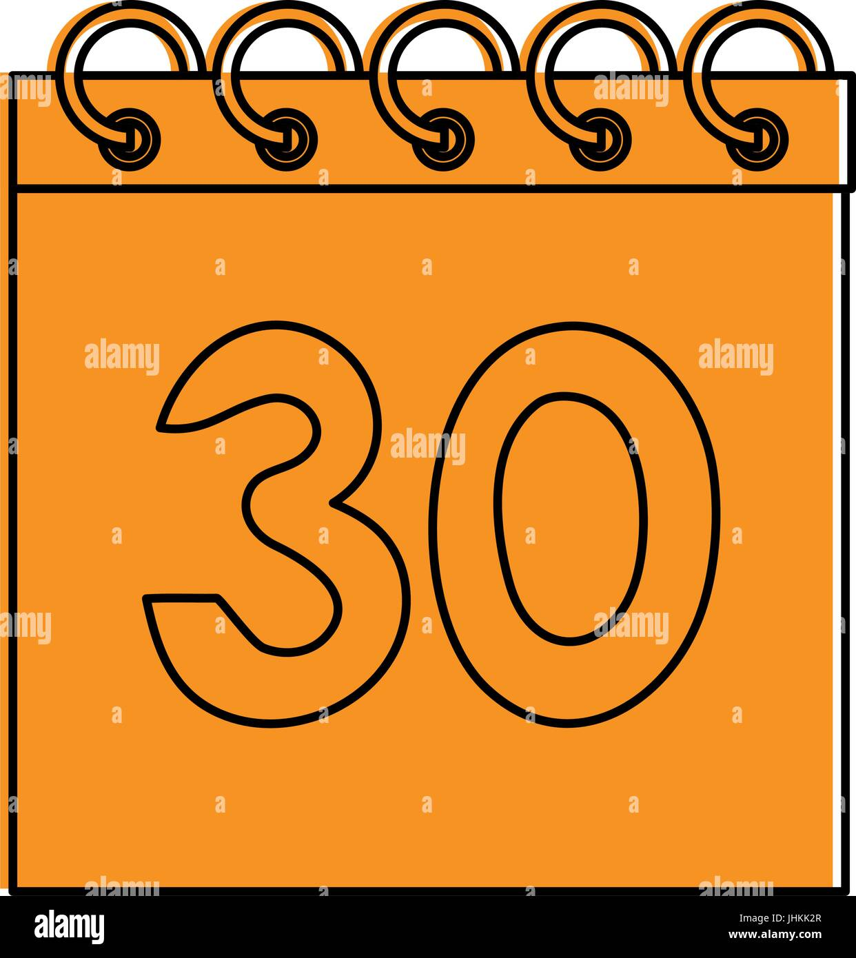 calendar with number 30 icon image  Stock Vector