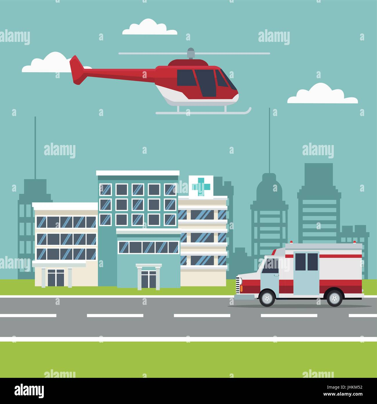city landscape scene building hospitals with ambulance and helicopter flying overhead - Stock Vector