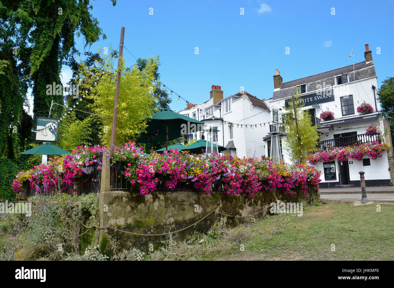 The White Swan public house on the River Thames in Twickenham, London - Stock Image