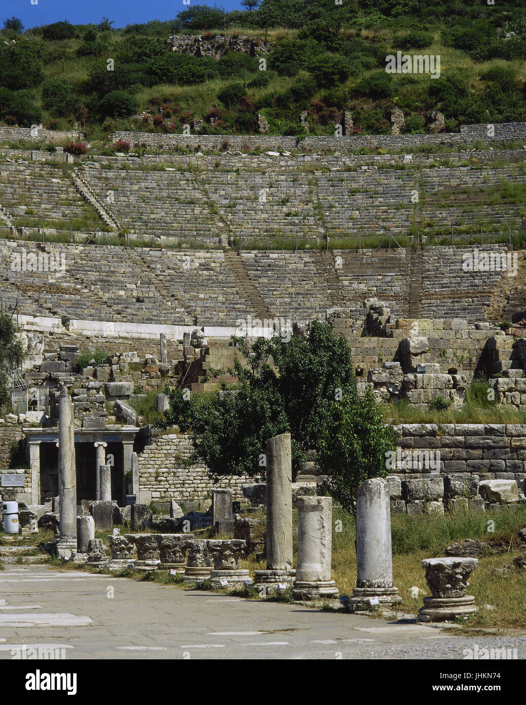 Turkey. Ephesus. Ancient Greek city on the coast of Ionia. Grand Theater. Hellenistic period and remodeled in Roman - Stock Image