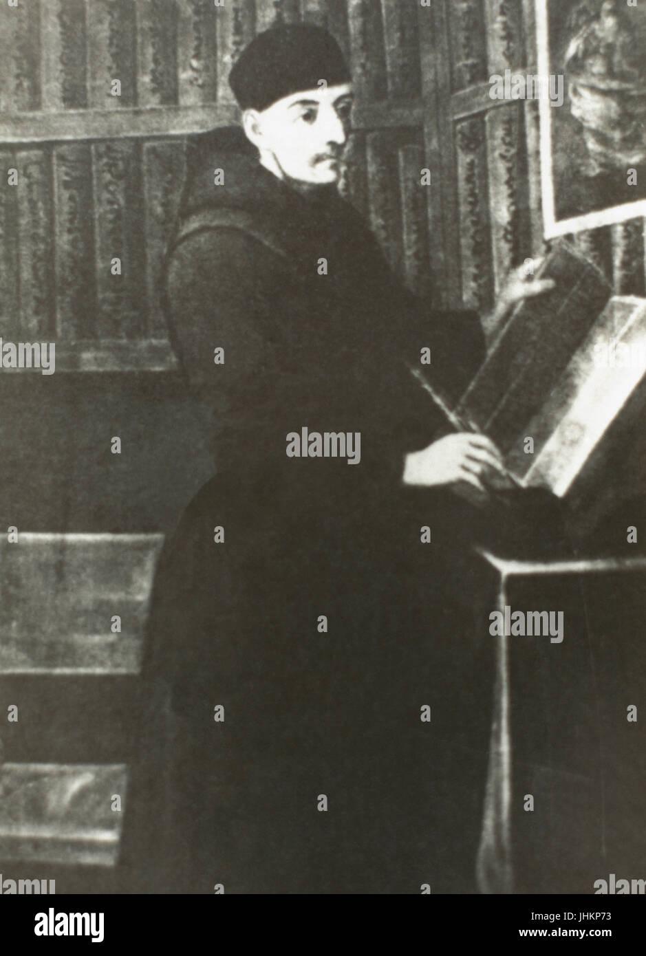 Bernardino de Sahagún (1499-1590). Franciscan friar, missionary priest and pioneering ethnographer. He participated - Stock Image
