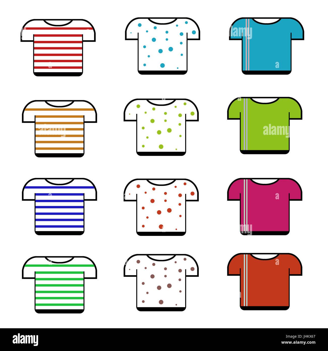 t-shirt clip art,isolate t-shirt on white background - Stock Image