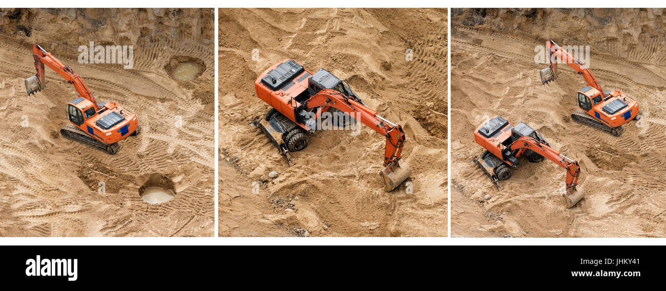 Set of excavators at sandpit during earthmoving works. Construction of concrete foundation of new building. Banner Stock Photo
