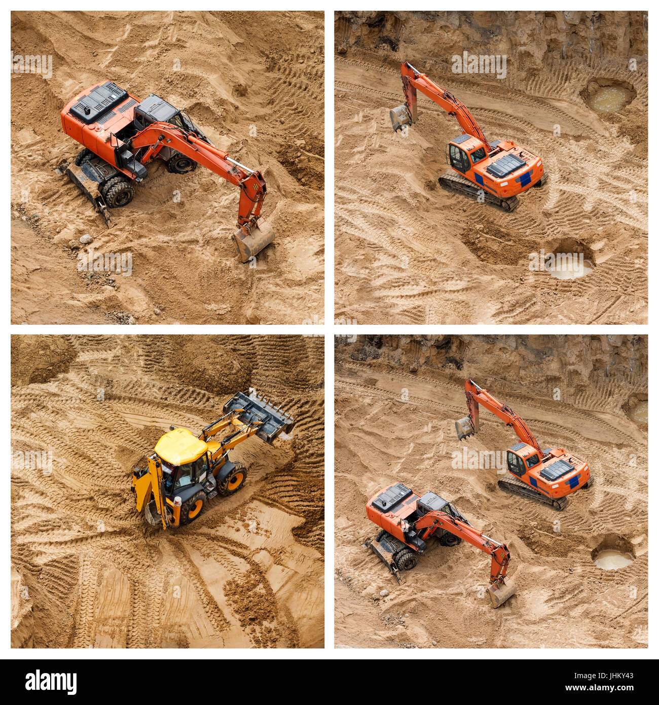 Set of excavators at sandpit during earthmoving works. Construction of concrete foundation of new building. - Stock Image