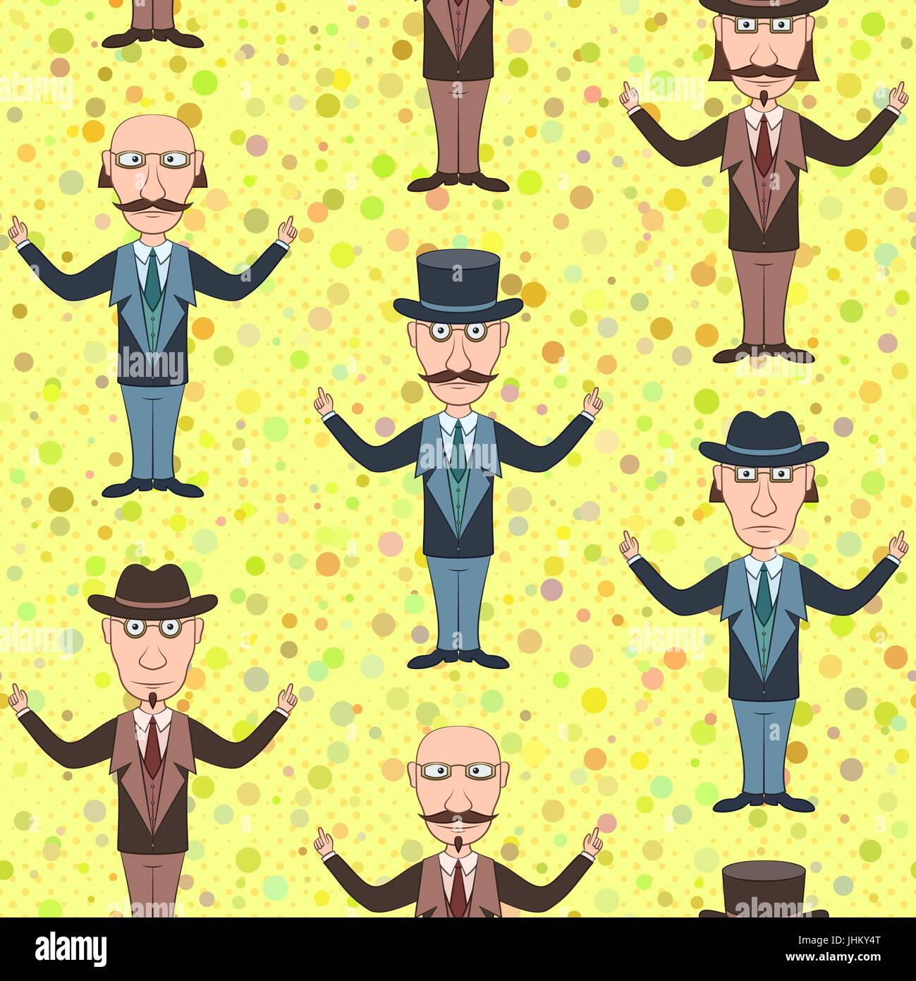 Seamless Background With Strict Slender Gentleman In Glasses Hat