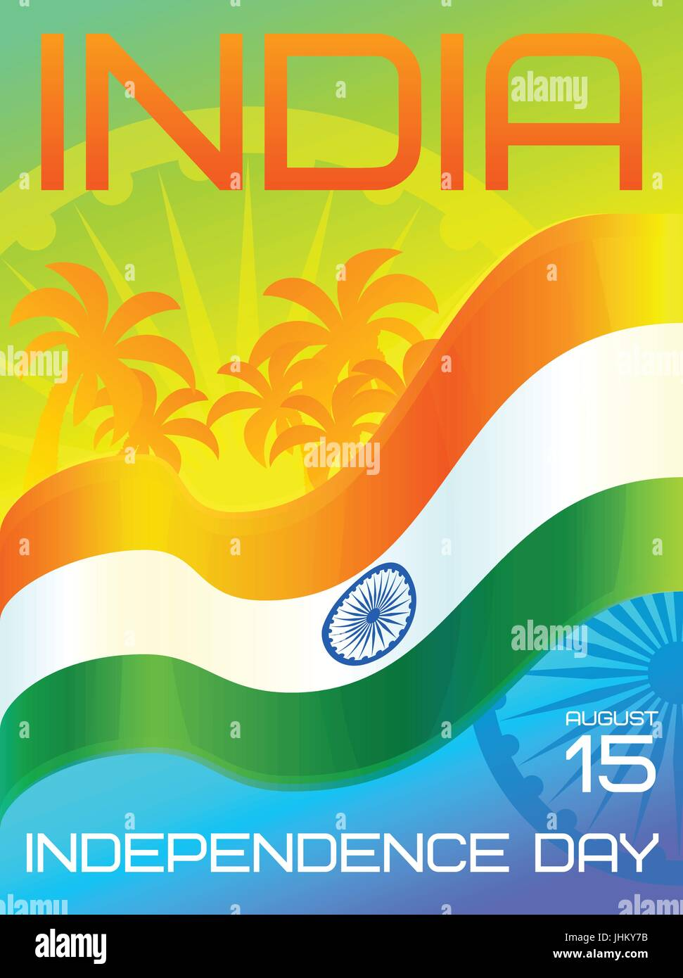 India Independence Day National Holiday 15 August Greeting Card