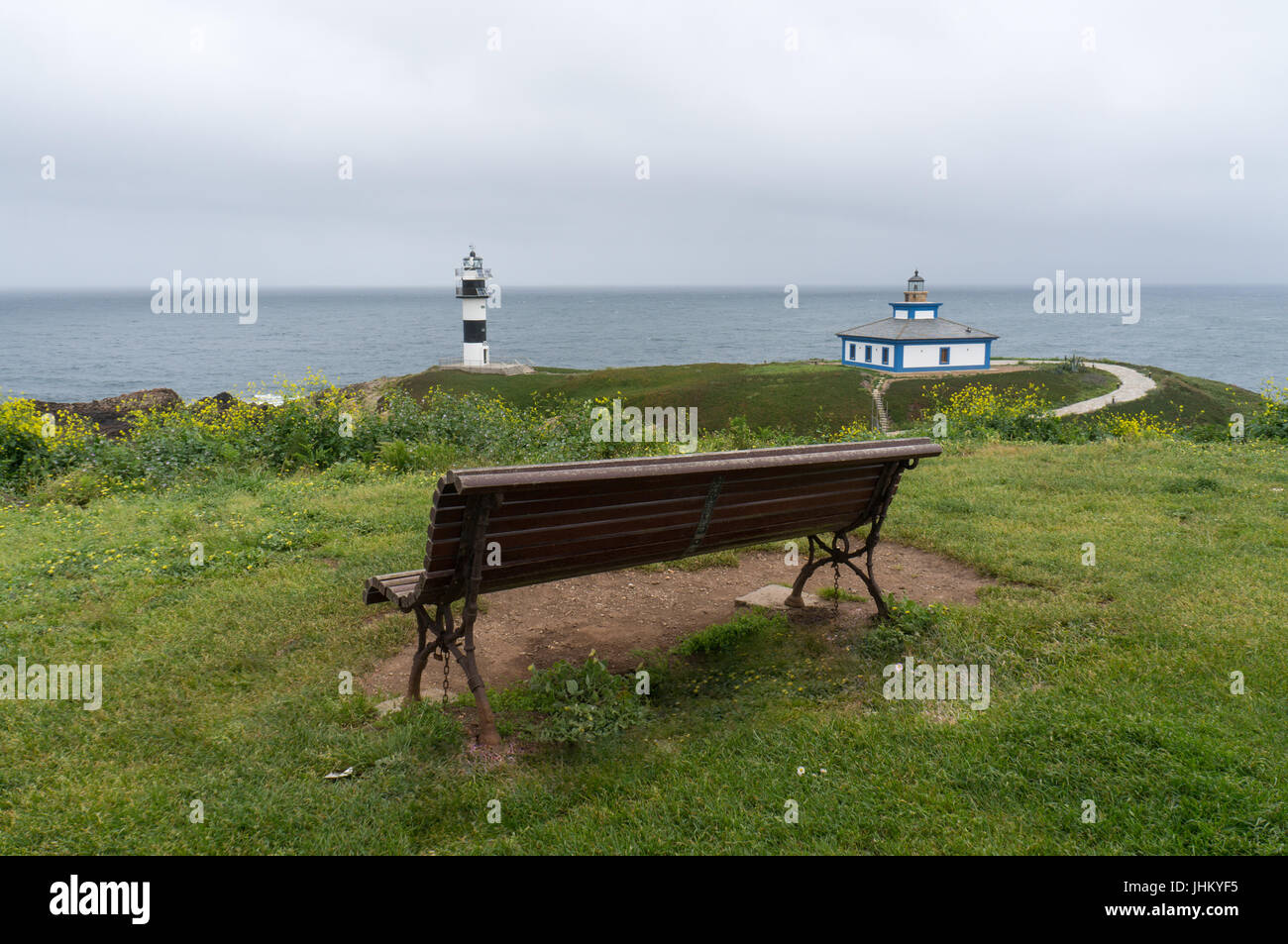 Isla Pancha with it's lighthouse and a comfy resting area on a cold and stormy day - Stock Image