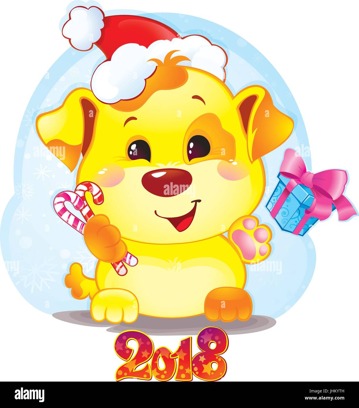 happy 2018 new year card funny puppy congratulates on holiday symbol of chinese horoscope for 2018 cute puppy in cartoon style
