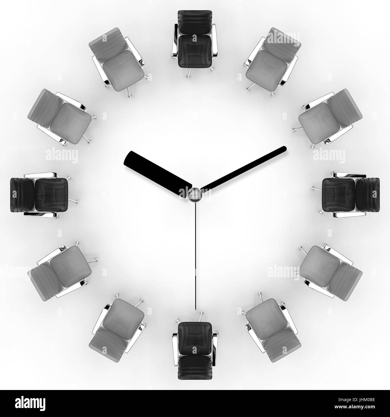 office hours concept with 3d rendering office chair arrange in clock face - Stock Image